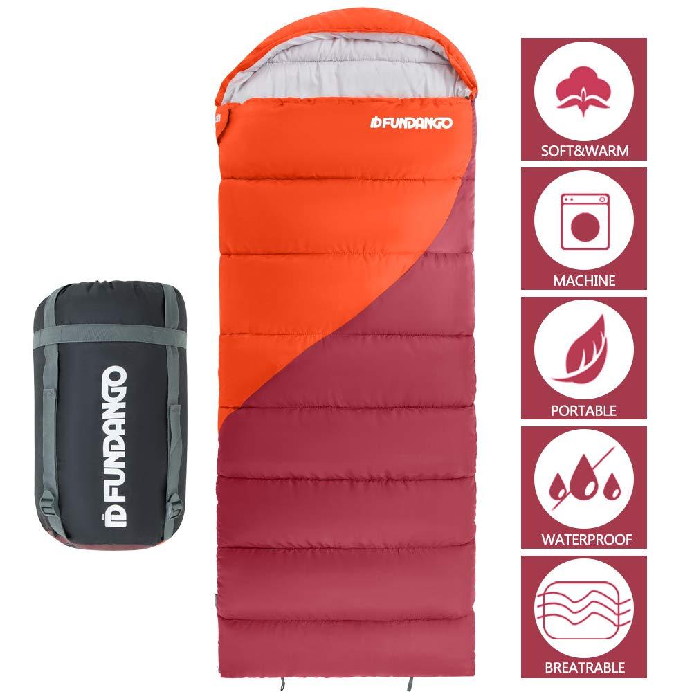 FUNDANGO Sleeping Bag with Compression Bag, Lightweight Waterproof Oversize Adult Sleeping Bag for 4 Season Traveling, Camping, Hiking, Outdoor Activities by FUNDANGO