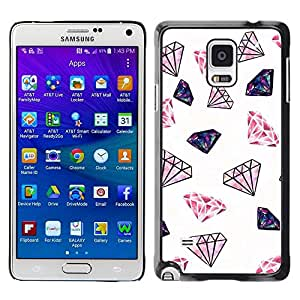 FECELL CITY // Duro Aluminio Pegatina PC Caso decorativo Funda Carcasa de Protección para Samsung Galaxy Note 4 SM-N910 // Diamond Glitter Pink White Minimalist Jewels