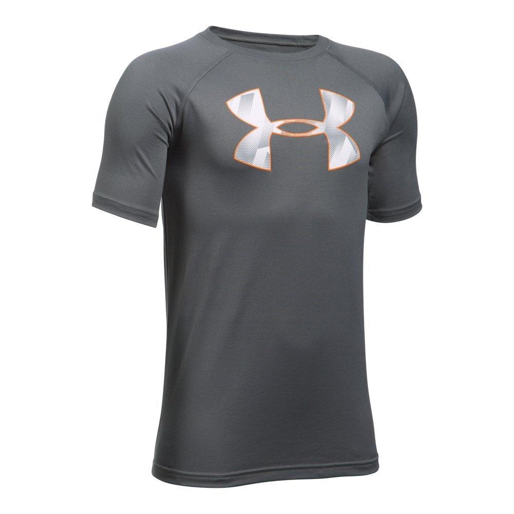 Under Armour Boys' Tech Big Logo T-Shirt, Graphite /Overcast Gray, Youth X-Small
