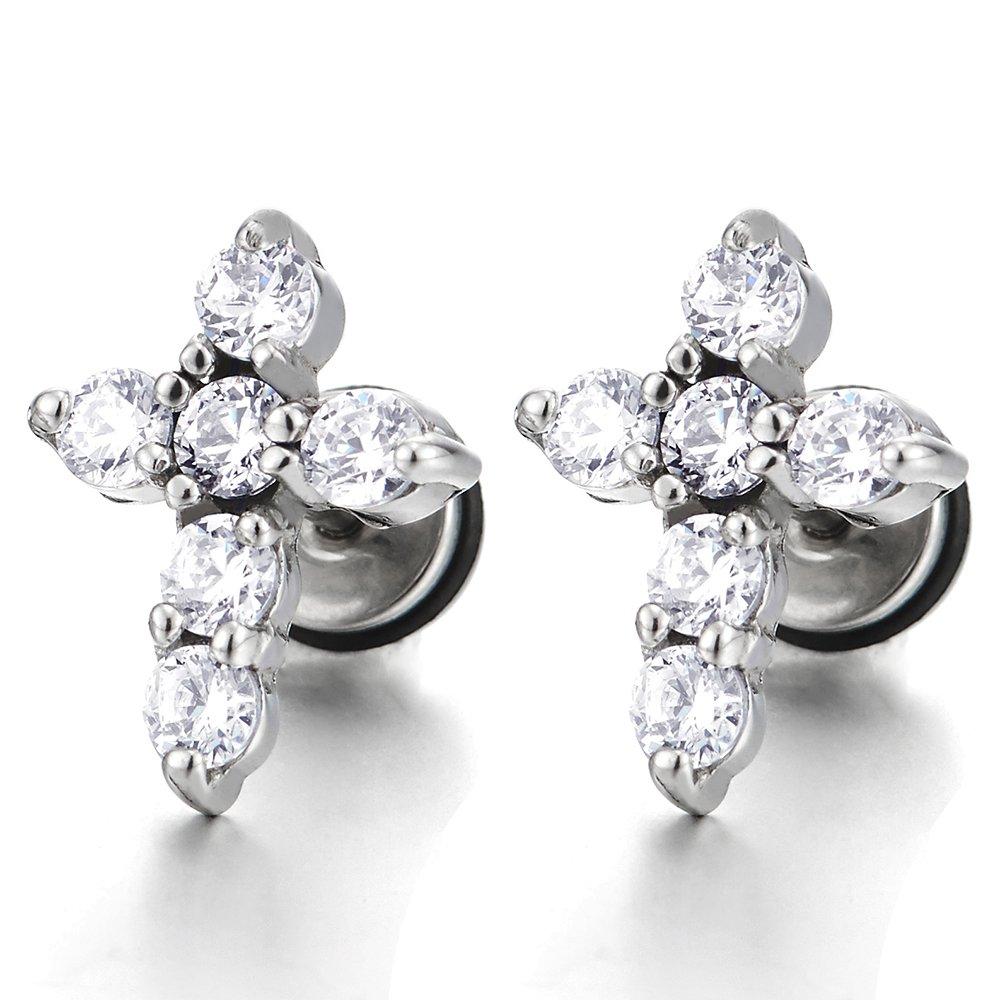 Mens Womens Stainless Steel Cross Stud Earrings with Cubic Zirconia, Screw Back, 2Pcs