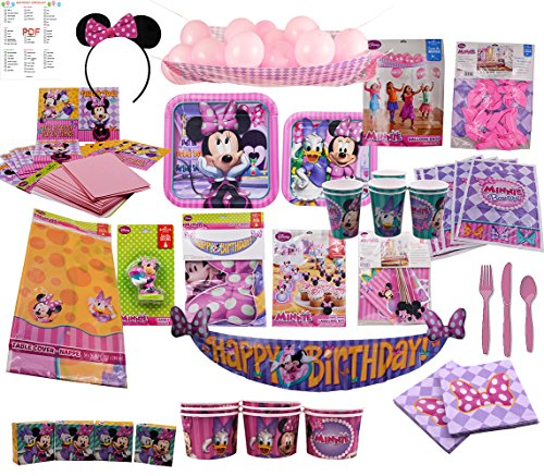 Minnie Mouse Party Supplies Bundle - The Ultimate Birthday Package (Minnie 8 Guests) (Halloween Drink Labels Printables)