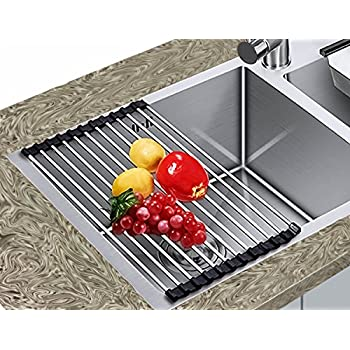 Amazon.com: Dish Drying Rack, kinsky Stainless Steel Kitchen Sink ...
