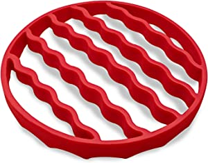 Silicone Steamer Rack, Roasting Rack for Baking Canning Cooking Steaming, Crock Pot Air Fryer Pressure Cooker Rack Accessories Compatible with 6-quart 8-quart cookers (Round, Red)
