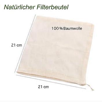 Filtro natural de algodón, filtrar para alimentos (horchata de almendras o soja , sopas, fabricar Vino), 25 x 20 cm: Amazon.es: Hogar