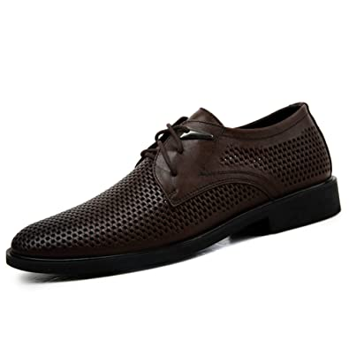 9f3d56b6abf1d ailishabroy Mens Summer Breathable Loafers Men Lace Up Genuine Leather  Office Shoes (45 (27.5