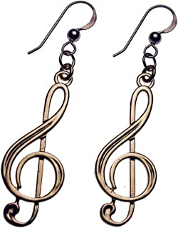product image for Treble Clef Peace Bronze Earrings on French Hooks
