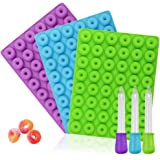 3 Pack Mini Donut silicone mold,YuCool Nonstick Food Grade Silicone Candy Chocolate Jelly, Ice Cube with 3 Bonus Droppers-Blue,green,Purple
