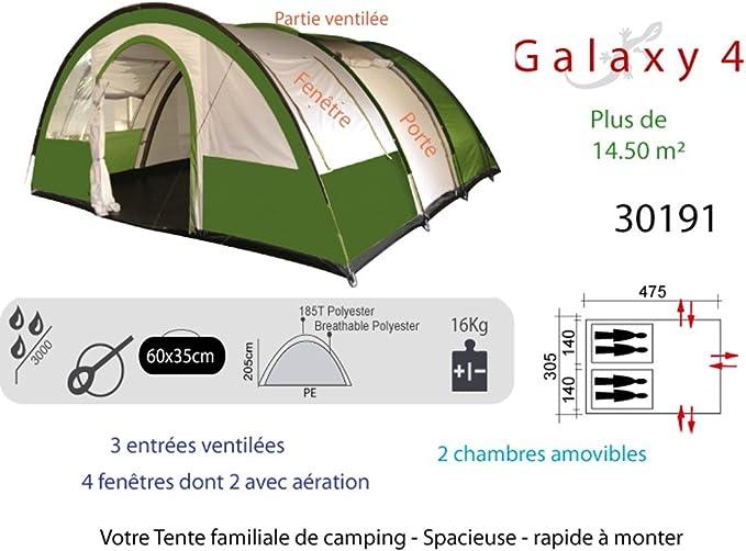 Tente de Camping 6 Personnes Galaxy 6 30192 Freetime-Tente familiale