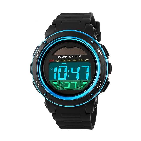 Skmei Relojes Reloj Deportivo energía Solar Digital Hombres Reloj Militar Impermeable al Aire Libre de Moda los Relojes de Pulsera: Amazon.es: Relojes