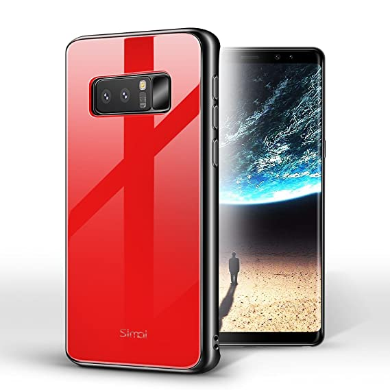 sale retailer 51e4d 8543b Simai Note 8 Case 9H Tempered Glass Back Cover for Samsung Note 8 [6.3]-Red