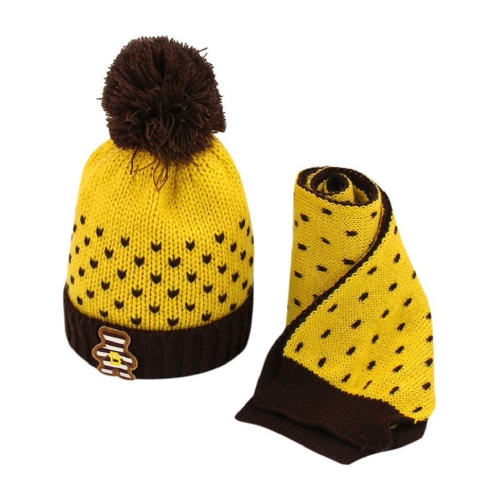 QUICKLYL 2PCS Gorro de Punto Invierno del Bebé Niños Niñas Tejido Crochet Beanie Caliente Lana Cofia Capucha Bufanda+Sombreros