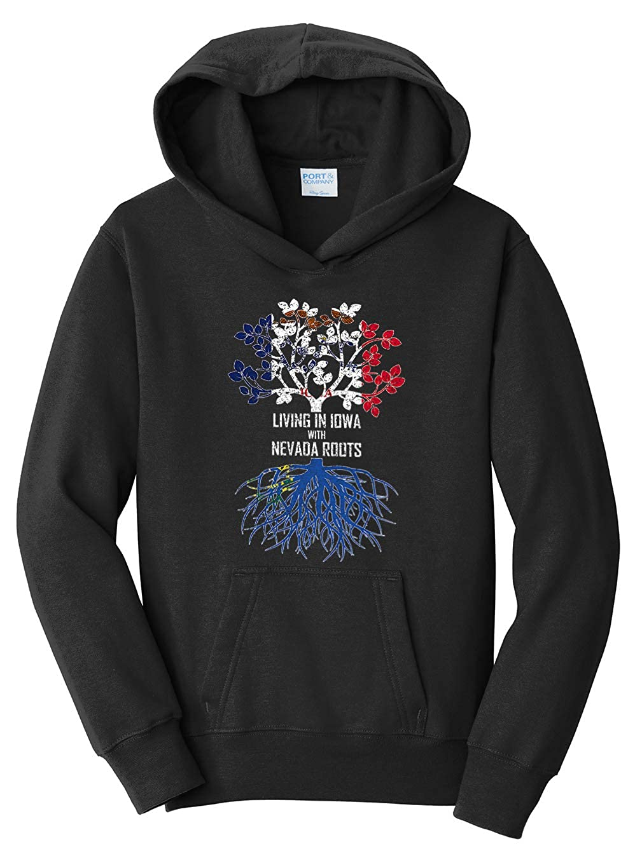 Tenacitee Girls Youth Living in Iowa with Nevada Roots Hooded Sweatshirt Black Large