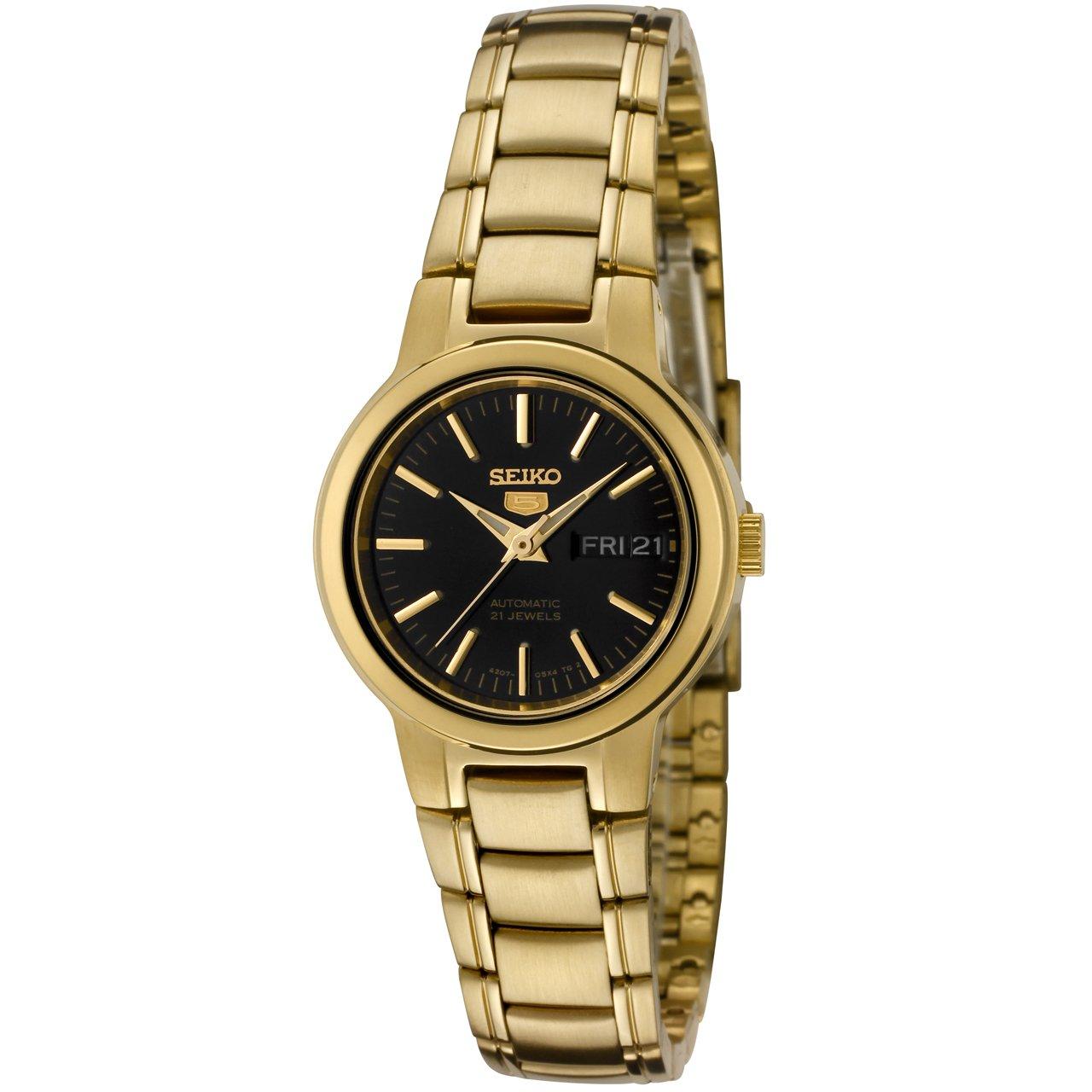 79a70f8ab Amazon.com: Seiko Women's SYME48 Seiko 5 Automatic Black Dial Gold-Tone  Stainless Steel Watch: Seiko: Watches