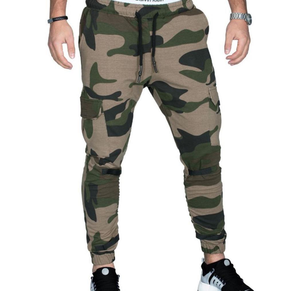Men's Slim Fit Cotton Twill Chino Jogger Pants, Men Tight Beam Foot Drawstring Sports Slacks Casual Trousers (Army Green, XXL)