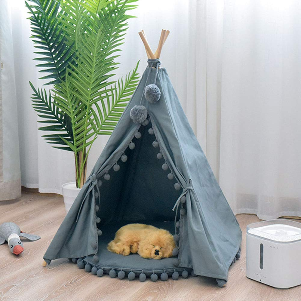 Green(withoutpad) Small Green(withoutpad) Small Kennel Cat Nest Pet Tent Washable Small And Medium Dogs Autumn Winter House Four Seasons Universal Teepee Dog Bed Portable Tents Houses,Green(Withoutpad),Small