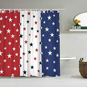 MOTINE Shower Curtain,Flag of USA Stars and Stripes ...