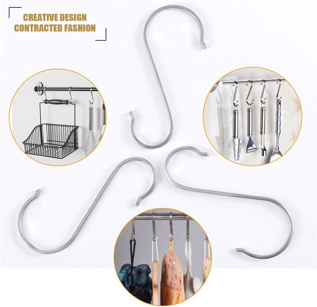 etc. ganchos de metal resistentes para utensilios de cocina oficina hogar oficina Paquete de 12 ganchos en forma de S de acero inoxidable armario garaje ba/ño