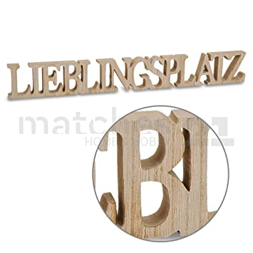 Matches21 Deko Schriftzug Lieblingsplatz Holz 3D Buchstaben Gesgt Zum Stellen Hngen 60x2x8 Cm