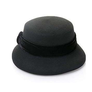 7bef868eea604 Limin Señoras Chicas Sombreros para Mujeres Clásico Sombrero de Campana  Elegante Sombrero de Fieltro Sombrero de