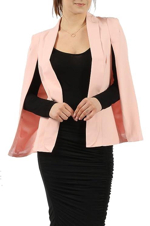 d8e0f5fd9b4 Missmister Womens Ladies Celeb Inspired Suit Cape Blazer (With Collar)  Girls Jacket Coat Top UK 8 10 12 14 16  Amazon.co.uk  Clothing
