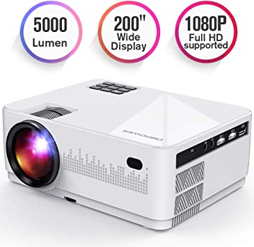 DBPOWER L21 LCD Video Projector, Upgraded 5000L 1080P 1920x1080 Supported Full HD Mini Movie Projector with HDMIx2/USB/SD/AV Ports, Compatible with ...