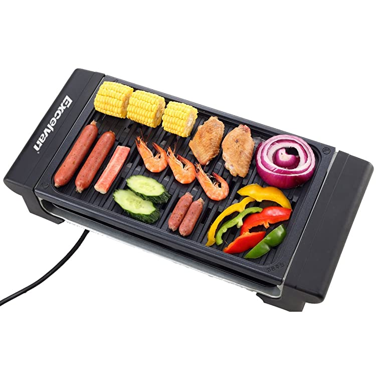 Excelvan Portable 1120W Electric Barbecue Grill Adjustable Temperature Settings Ideal for Indoor and Outdoor Use, Smokeless, Non-stick, Easy to Clean, Black