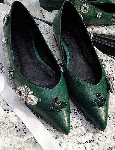 zapatos 5 eu38 Flats verde talón uk5 us7 novedad mujer black cn38 Casual piel PDX de plano comodidad 5 negro de rosa aqxTa5S