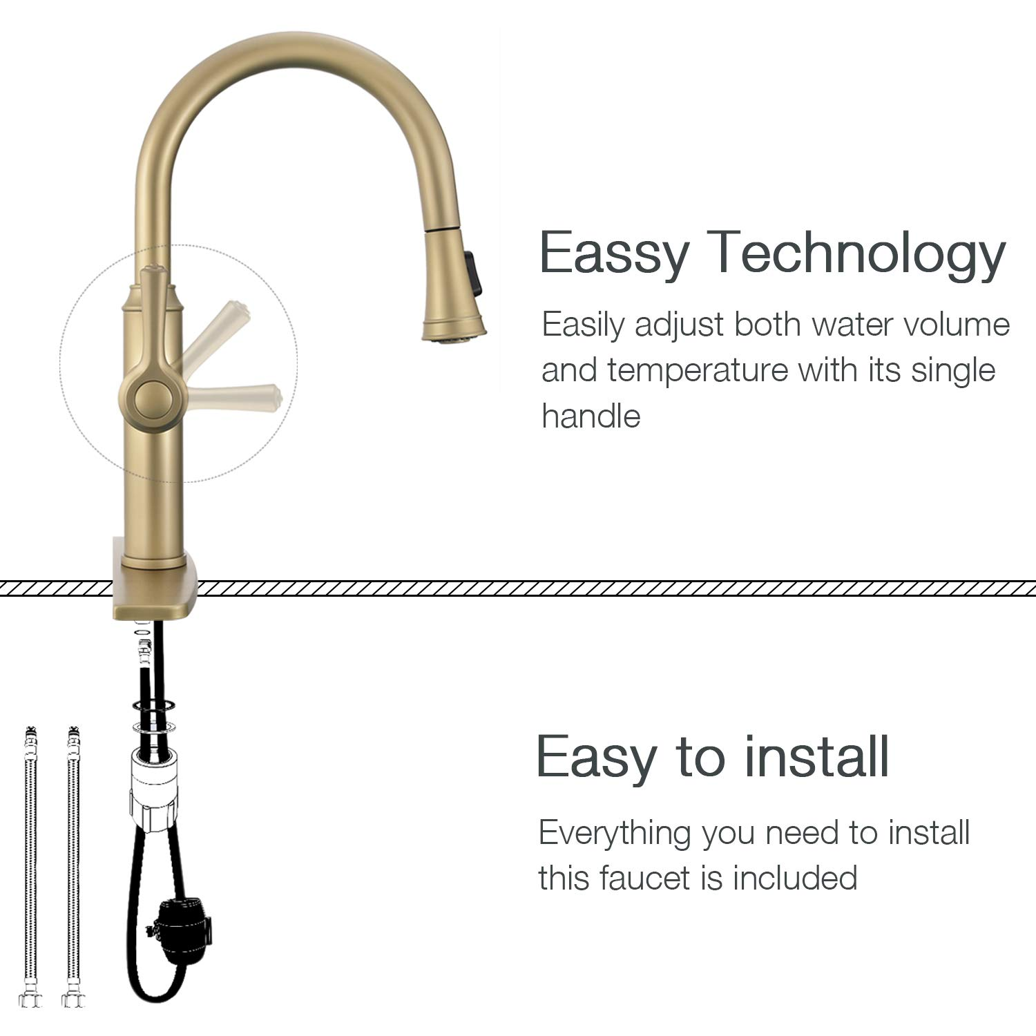 Peppermint Kitchen Sink Faucet Matte Champagne Bronze Single Handle with Pull Down Sprayer Matte Gold by Peppermint (Image #4)