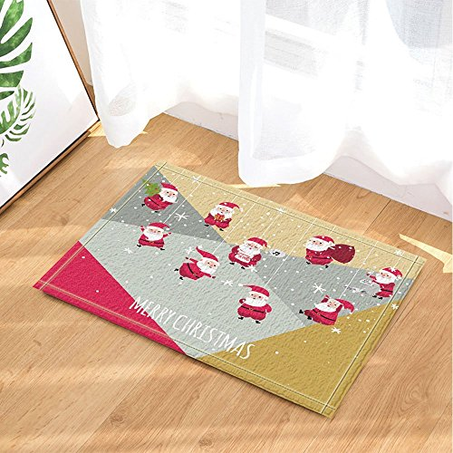 Christmas Decor Cute Santa Claus Hang in Sky for New Year Bath Rugs Non-Slip Doormat Floor Entryways Indoor Front Door Mat Kids Bath Mat 15.7x23.6in Bathroom (2706 Rug)