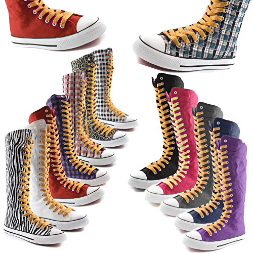 Calf Grey Canvas Punk DailyShoes Wht Plaid Sneaker Casual Mid Lace Womens Tall Flat Cognac Boots Boots qtw5vxw