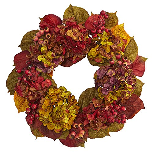 "Nearly Natural 24"" Fall Hydrangea Wreath, Multi/Color"