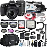 Canon EOS 80D DSLR Camera Bundle with Canon 18-135mm USM Lens + Canon 55-250mm STM Lens + Professional Video Accessory Bundle includes ECKO Headphones, Microphone, LED Light and More