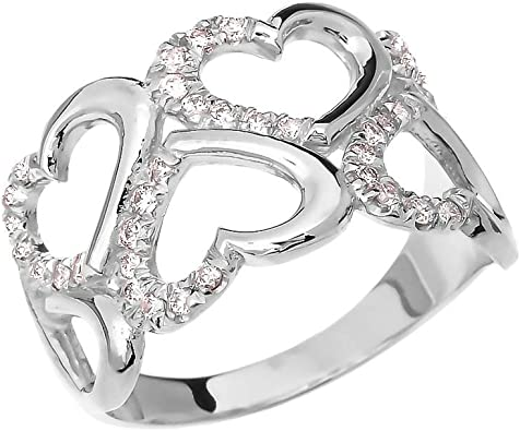 Genuine Natural White Diamond 14k Rose Gold  925 Sterling Silver Open Filigree Style Ring Size 8.25