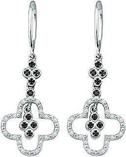 Boucles d'oreilles Femme / pendantes 0.16 ct 10 ct Or Blanc Noir & Blanc Diamant