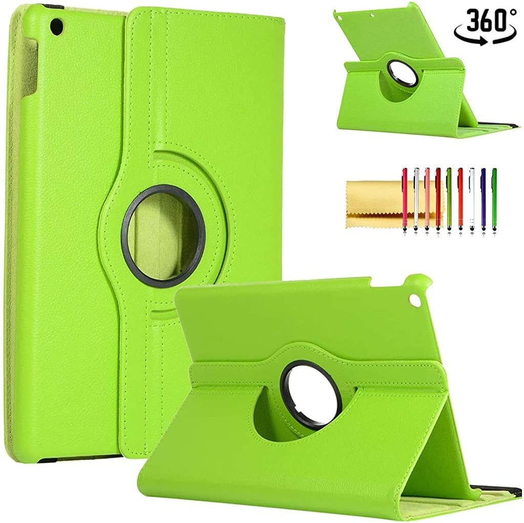 Case for iPad Pro 12.9 4th Generation 2020, Techcircle Slim Folio Rotating Stand Case [Support Apple Pencil Charging] Auto Wake/Sleep PU Leather Smart Cover for New iPad Pro 12.9-inch 2020, Green