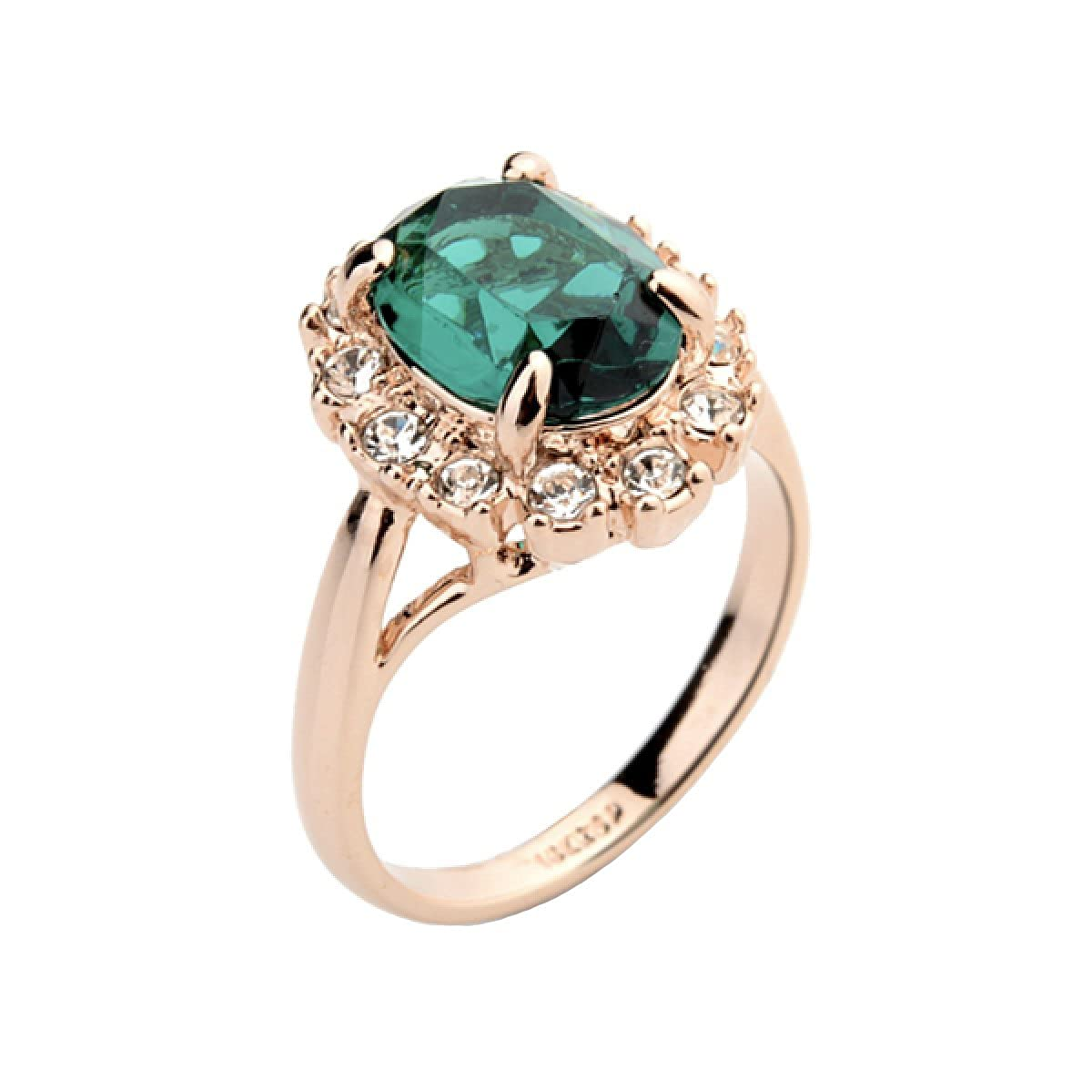 8b5ace933 Rose Gold Plated Oval Shaped Gem Style Ring with Emerald Green Swarovski  element Crystal and Clear Round Shaped Cubic Zirconia Fashion Jewelry for  Women