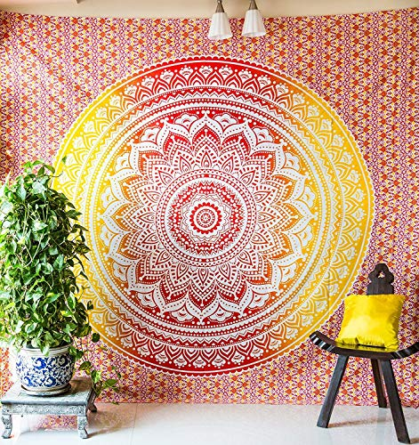 Ombre Mandala Bedspread With Pillow Covers Indian Bohemian Tapestry