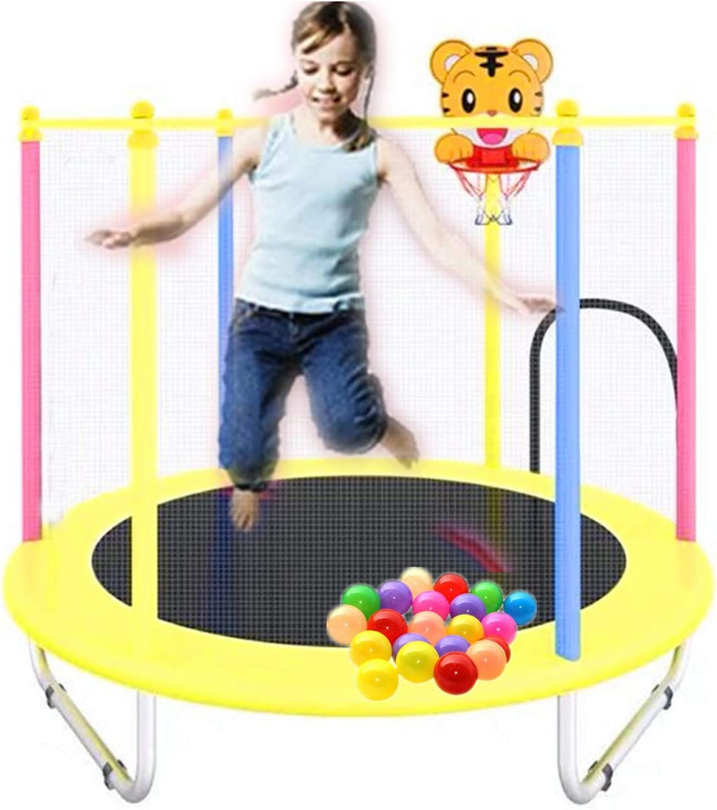 1.4m//55inch Colorful Trampoline with Safety Net,Seaballs,Basketball Hoop Kids Trampoline with Enclosure Net Durable Fitness Trampoline Indoor Outdoor Trampoline for Boys Grils Children Toddler
