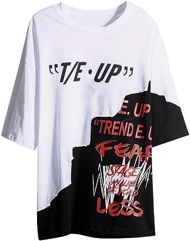 RYTEJFES Camiseta Hip-Hop Hombres Manga Corta Round Cuello Tops Casual Blusa Suelto Camisa Tallas Grandes Transpirable Estampado Cráneo Ropa de Deporte para Casa Vacaciones Trekking: Amazon.es: Ropa y accesorios