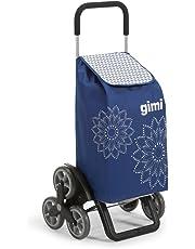 GIMI Tris Floral Carrello Portaspesa, Sistema 3+3 Ruote, Saliscale, Portata 30 kg, Acciaio/Tessuto, Blu, 51 x 41 x 102 cm