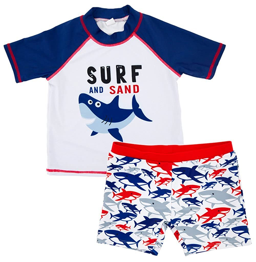 BANGELY Kids Toddler Boys Cartoon Shark Letters Print Rash Guard Swimsuit 2-Piece Sun Production Bathing Suit Z1637