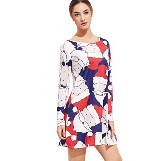 163522b499cd PXiong Print Ladies Christmas Dresses Long Sleeve Party Xmas Dress for  Women at Amazon Women's Clothing store: