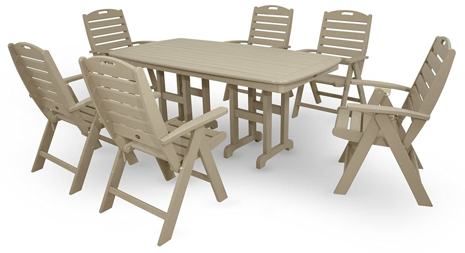Amazon.com : Trex Outdoor Furniture By Polywood 7 Piece Yacht Club Highback  Dining Set, Sand Castle : Outdoor And Patio Furniture Sets : Garden U0026  Outdoor
