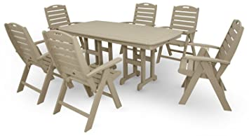 Trex Outdoor Furniture By Polywood 7 Piece Yacht Club Highback Dining Set,  Sand Castle