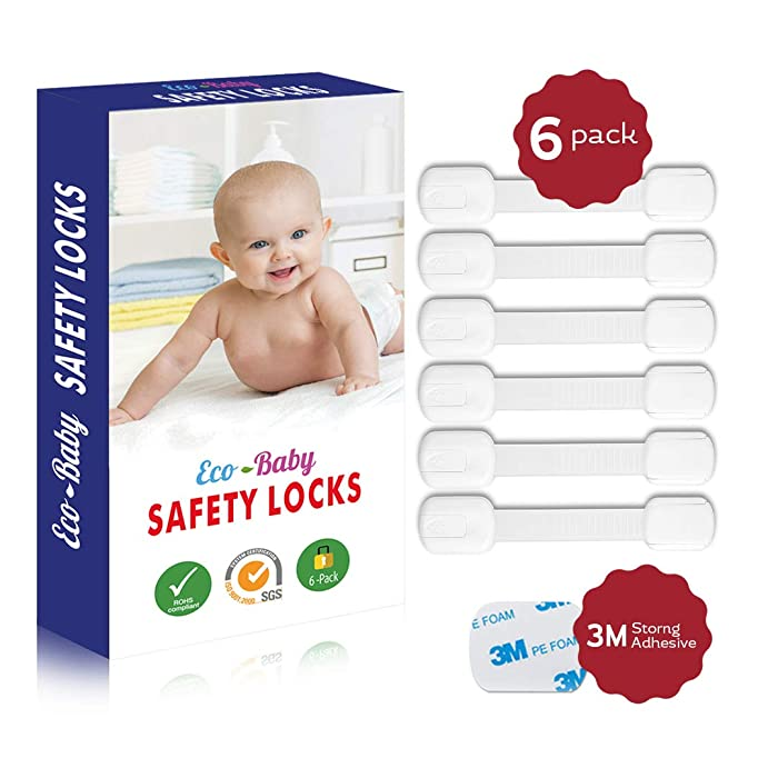 Eco-Baby Child Safety Cabinet Locks,Drawers, Oven, Toilet Seat, Fridge and More | Multi-Purpose Use | No Tools Required | Super Strong 3M Adhesive with Adjustable Strap and Latch System (6-Pack)