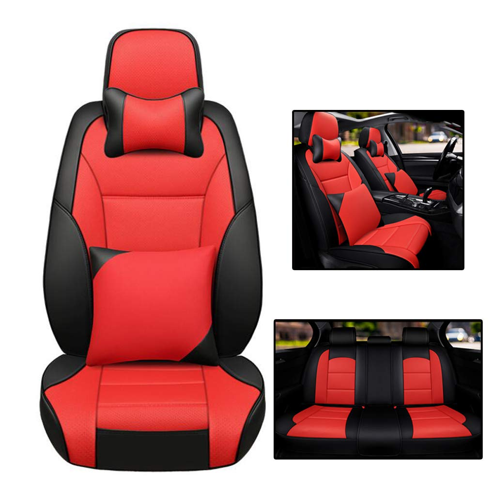 Red Car seat Cushion, BMW car seat Cover with Fully Enclosed Design, Four Seasons Universal car seat Cover Black (Suitable for Most Models)