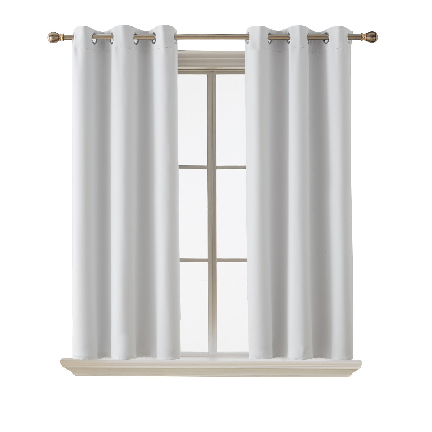 Deconovo Room Darkening Thermal Insulated Blackout Grommet Window Curtain Panel For Living Room 42 (42x63 Inch, Star White)
