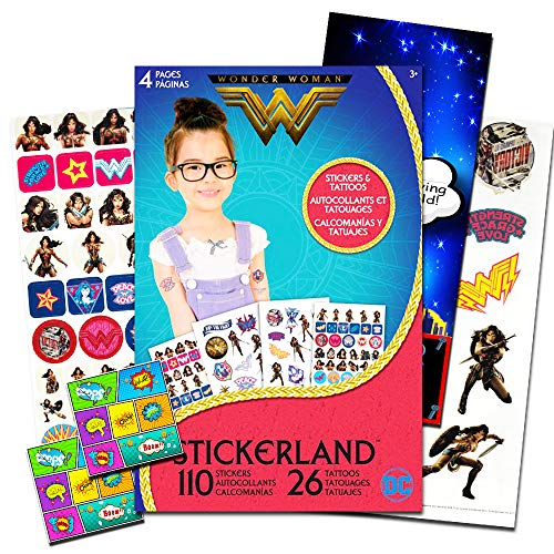 Wonder Woman Stickers and Tattoos Party Favors Set ~ 110 Stickers, 26 Temporary Tattoos, 2 PopArt Stickers  and Superhero Door Hanger (Wonder Woman Party Supplies)]()
