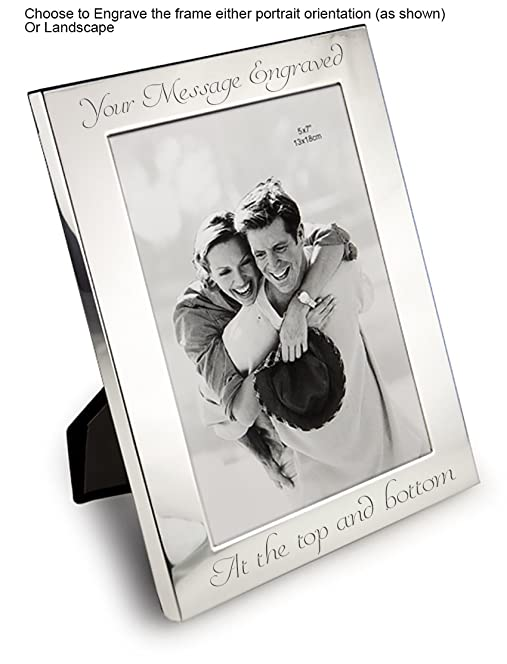 personalised 7 x 5 silver photo frame can be engraved - Engraved Picture Frame