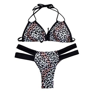 a7751c9522d40 Amazon.com  chengzhijianzhu-Swimsuit The Newest Women s Sexy Leopard Print  Bandage Bikini Set Brazilian Swimwear Beachwear Swimsuit  Clothing